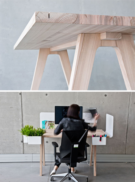wood desk in use