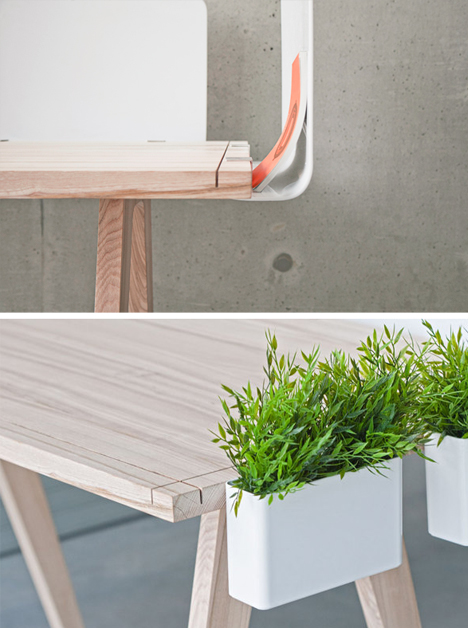 wood desk white accessories