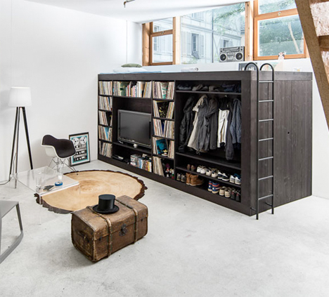 Living Cube: Space-Saving Loft/Storage Unit for Studios