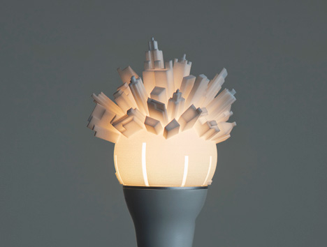 Skyline lamp shade 3d cityscape wraps round light bulb mozeypictures Gallery