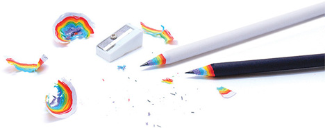 colorful rainbow recycled pencils