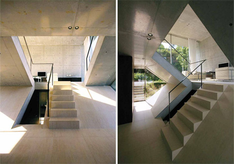concrete slants define interior spaces