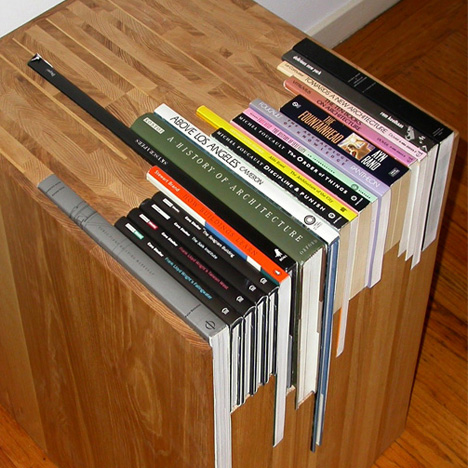 custom bookcase close up