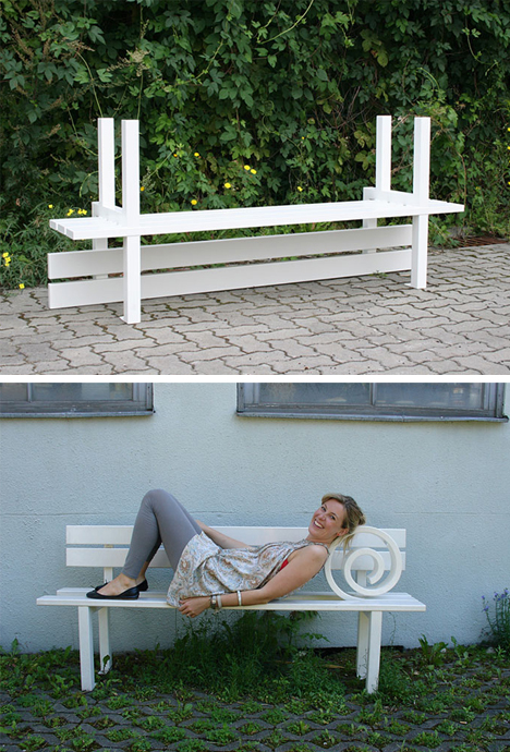 interactive sleeping bench variant