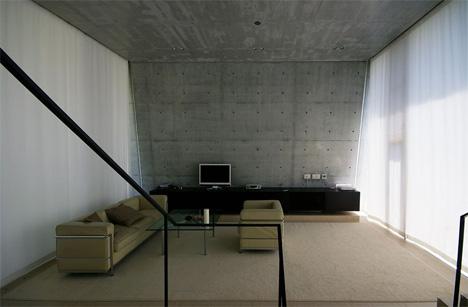 living room concrete ribbon house japan