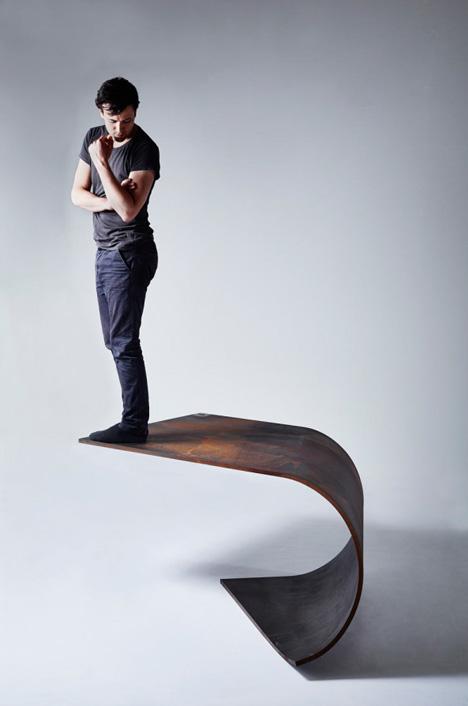 single piece steel table