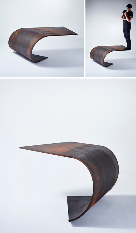 single rolled metal table