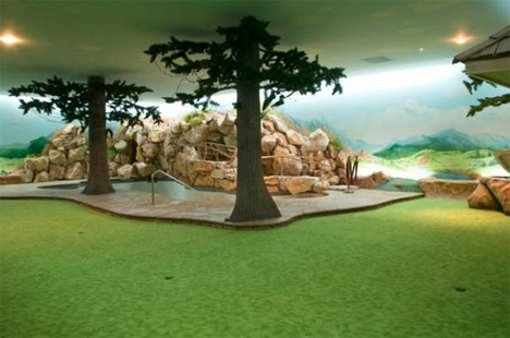 underground bunker home pool sauna hot tub golf course