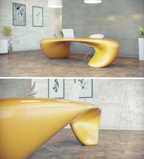 Fluid Curvy Modern Office Desk Designs Ideas On Dornob