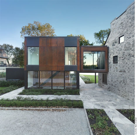 Modern Cube Addition Stone House 2