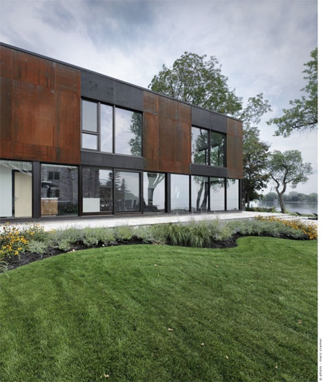 Modern Cube Addition Stone House 3