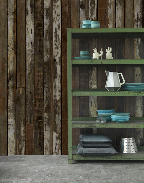 Textural Wallpaper Imitates Scrap Wood Without the Work