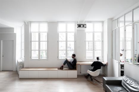 built in storage seating workspace kabinett apartment paris
