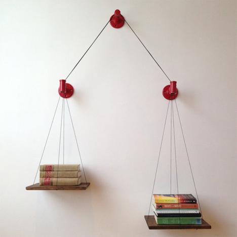 cush design studio red balance bookshelf