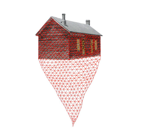 floating away embroidered house