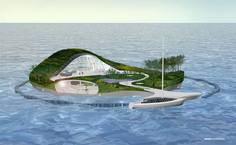 Genial Fabulous Floating Villa: Island Shaped Floating Home Design