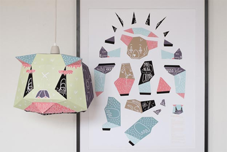 folding poster lampshades