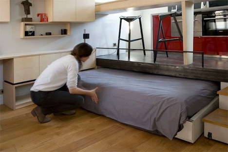 pull out bed and sofa paris small space flat