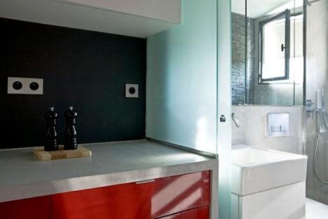 tiny paris apartment bathroom