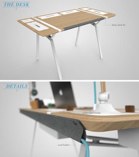clear the clutter modular desk for the storage obsessed. Black Bedroom Furniture Sets. Home Design Ideas
