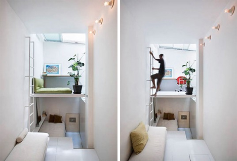different zones in 250 square foot apartment