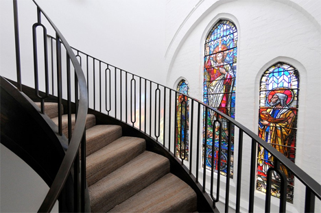 spiral staircase stained glass windows london