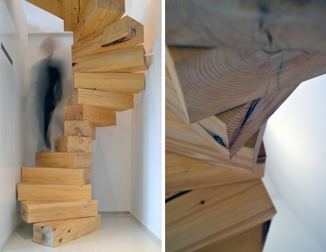 Jenga style steps giant spiral stairs made of wood blocks for Square spiral staircase plans hall