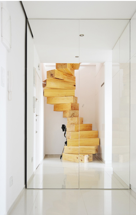 wood stairs entry mirror
