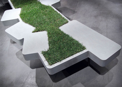 bench with growing grass