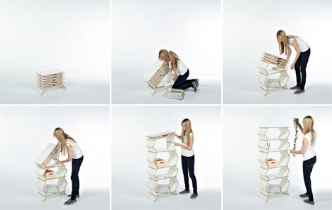 flatpack easily folded shelves