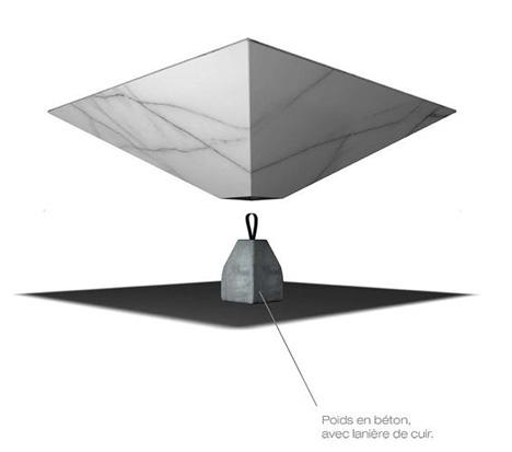 illusion inverted pyramid marble table