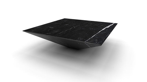 inverted marble table
