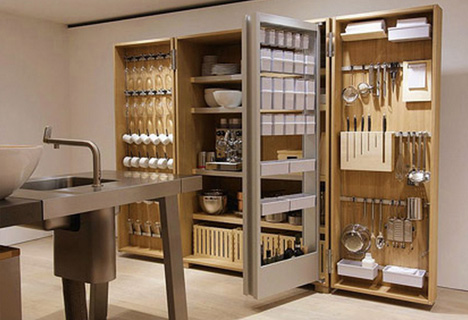 Fold Out Kitchenware Compact Cabinet Deploys On Demand Designs