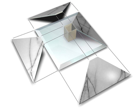 upside down pyramid marble table