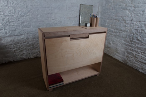 folded up tablet desk