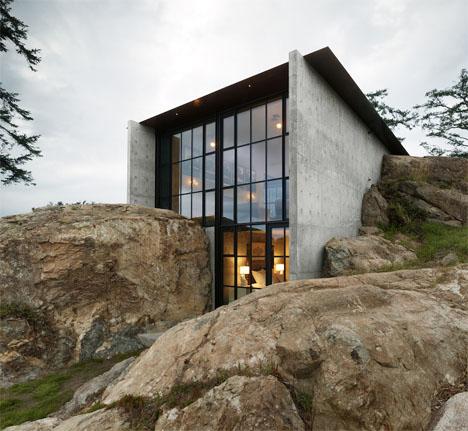 Camouflaged Concrete Boulder House 1