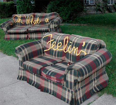 Lionel Stitchie: Lyrics Embroidered On Discarded Furniture