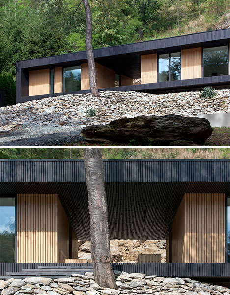 Modern Cabin in a Quarry Embraces Rough Rocky Nature