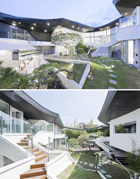 Modern secret garden house features private courtyard for Modern house korea