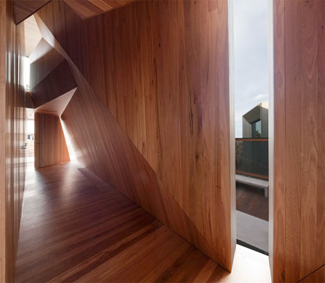 Twisting Wood Lined Beach House 1