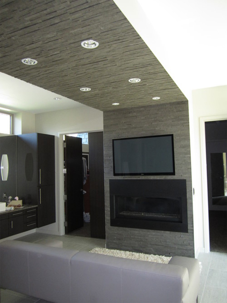 accent wall and fireplace