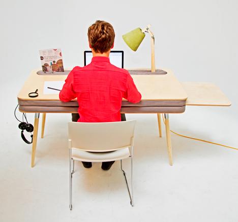 customizable wood and upholstry desk