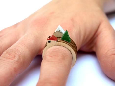 The World on Your Finger: Tiny Wooden Landscape...