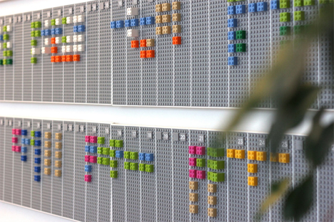 office calendar made of lego bricks