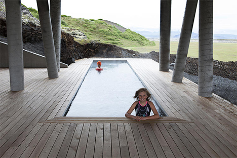 outdoor tub warmed by lava