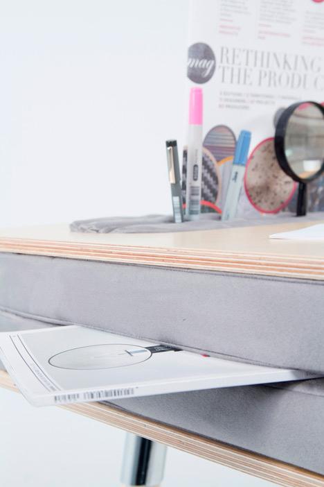 oxymoron desk upholstered layers
