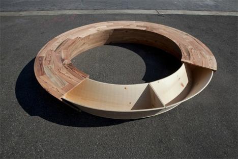 salvaged wood circular storage bench