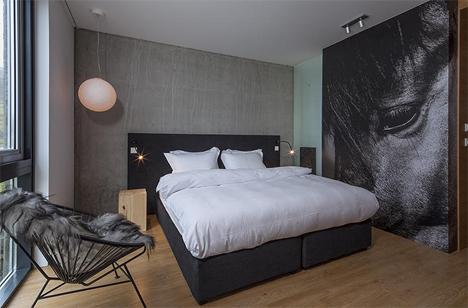 simple unadorned hotel room