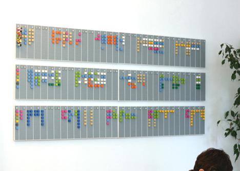 wall mounted LEGO office calendar