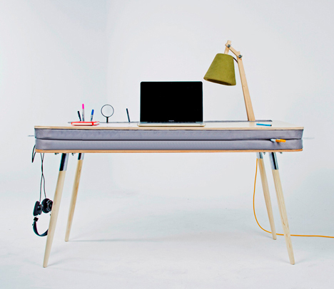 wood and foam desk work table